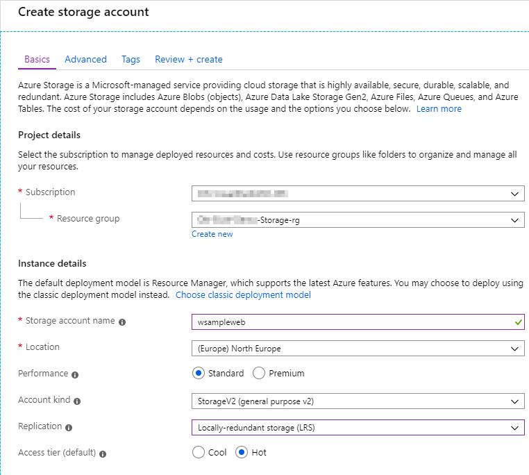 Abbildung Storage Account erstellen